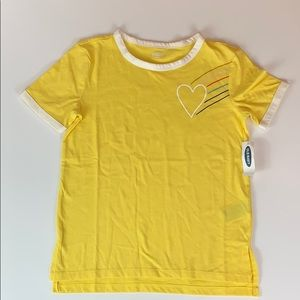 Old Navy Girls Yellow With Heart & Rainbow Tee